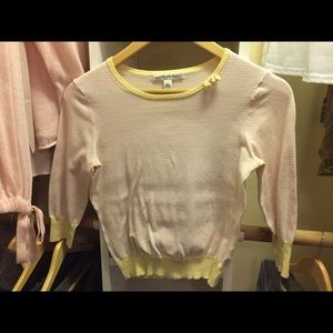 3/4 Yellow stripped cotton sweater